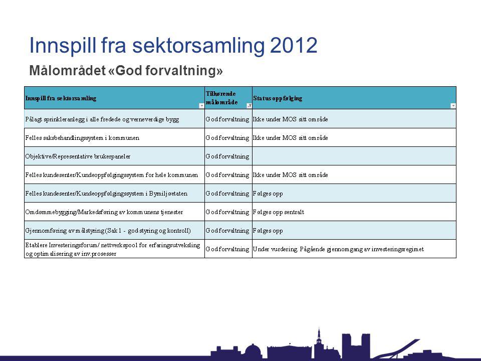 Innspill fra sektorsamling 2012 Målområdet «God forvaltning»
