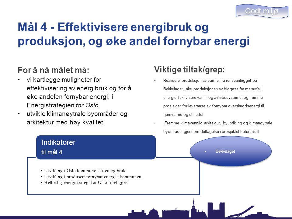 Mål 4 - Effektivisere energibruk og produksjon, og øke andel fornybar energi For å nå målet må: vi kartlegge muligheter for effektivisering av energib