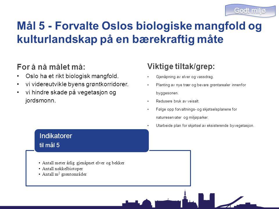 Mål 5 - Forvalte Oslos biologiske mangfold og kulturlandskap på en bærekraftig måte For å nå målet må: Oslo ha et rikt biologisk mangfold. vi videreut