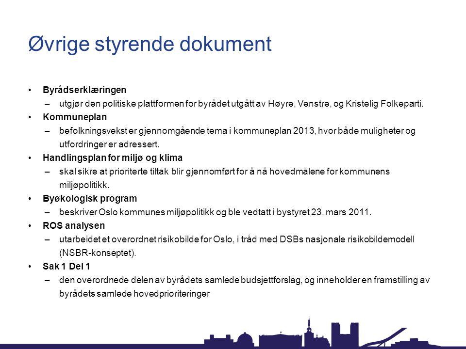 Øvrige styrende dokument Byrådserklæringen –utgjør den politiske plattformen for byrådet utgått av Høyre, Venstre, og Kristelig Folkeparti. Kommunepla
