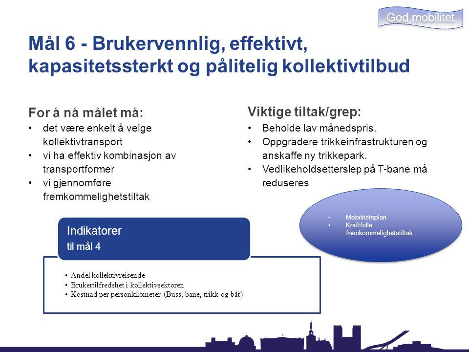Mål 6 - Brukervennlig, effektivt, kapasitetssterkt og pålitelig kollektivtilbud For å nå målet må: det være enkelt å velge kollektivtransport vi ha ef