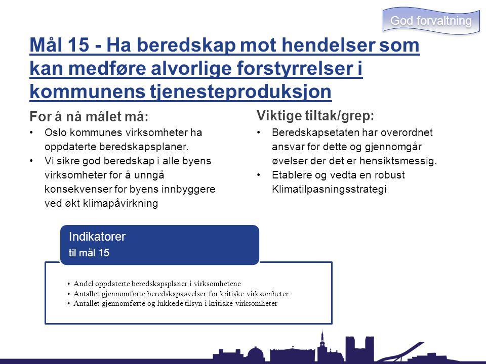 Mål 15 - Ha beredskap mot hendelser som kan medføre alvorlige forstyrrelser i kommunens tjenesteproduksjon For å nå målet må: Oslo kommunes virksomhet