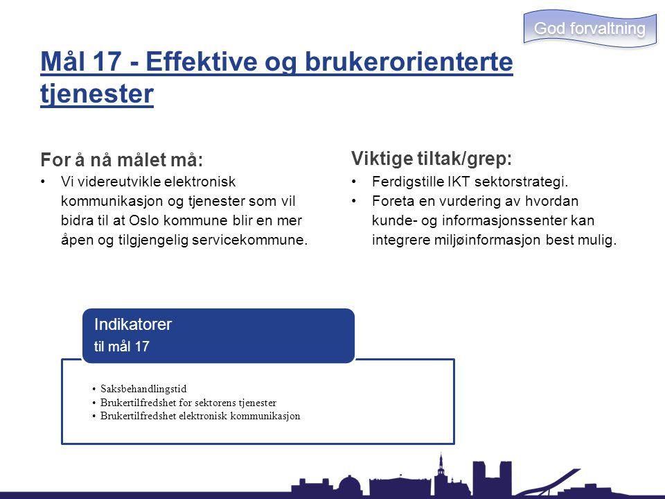 Mål 17 - Effektive og brukerorienterte tjenester For å nå målet må: Vi videreutvikle elektronisk kommunikasjon og tjenester som vil bidra til at Oslo