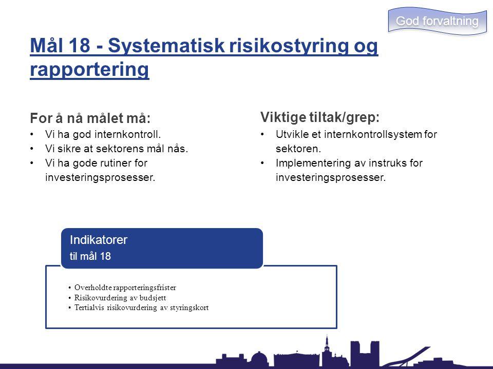 Mål 18 - Systematisk risikostyring og rapportering For å nå målet må: Vi ha god internkontroll. Vi sikre at sektorens mål nås. Vi ha gode rutiner for