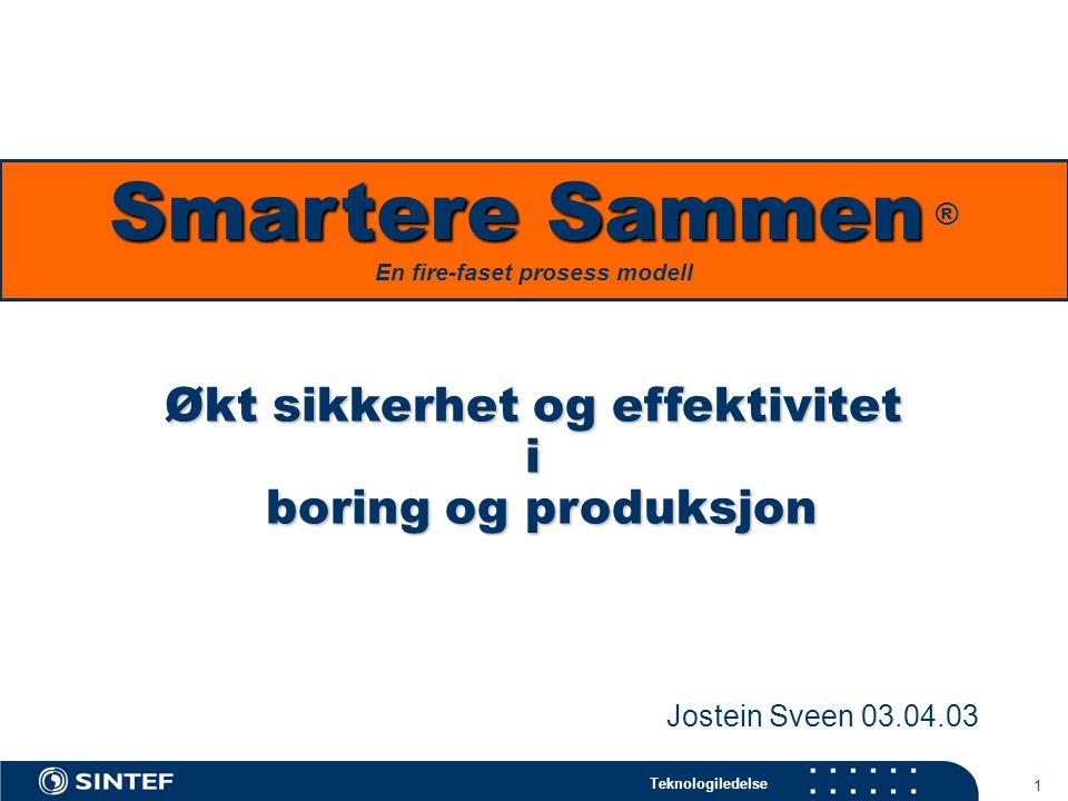 Teknologiledelse 1 Økt sikkerhet og effektivitet i boring og produksjon Jostein Sveen 03.04.03 Smartere Sammen Smartere Sammen ® En fire-faset prosess modell