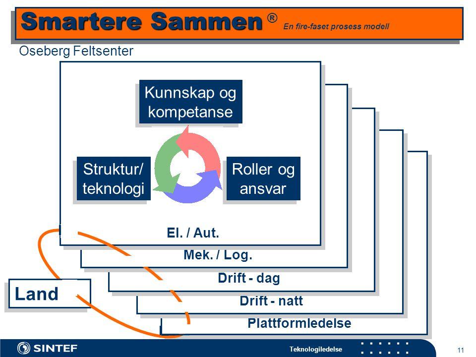 Teknologiledelse 11 Land Plattformledelse Kunnskap og kompetanse Roller og ansvar Drift - natt Kunnskap og kompetanse Drift - dag Mek.