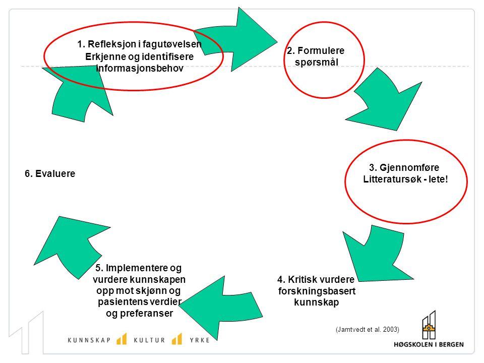 Kunnskapsbasert praksis Fagutøvelse basert på god og relevant forskningsbasert kunnskap, sammen med erfaring, verdier og preferanser. (Jamtvedt et al.