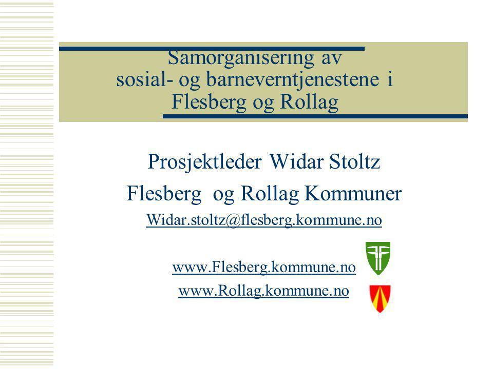 www.Flesberg.kommune.no www.Rollag.kommune.no Sosial og barneverntjenesten i Flesberg og Rollag  Bakgrunn  Prosess  Prosjektframdrift  Vårt valg av interkommunal modell  Samarbeidspartnere