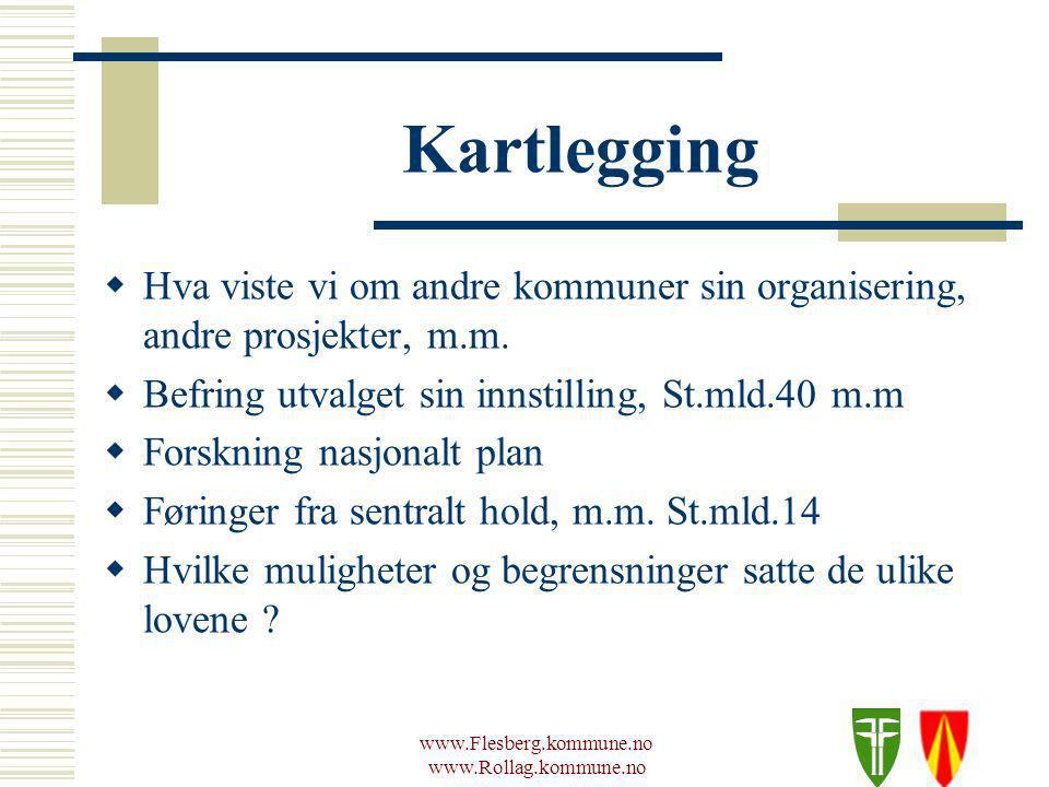 www.Flesberg.kommune.no www.Rollag.kommune.no Kartlegging  Hva viste vi om andre kommuner sin organisering, andre prosjekter, m.m.