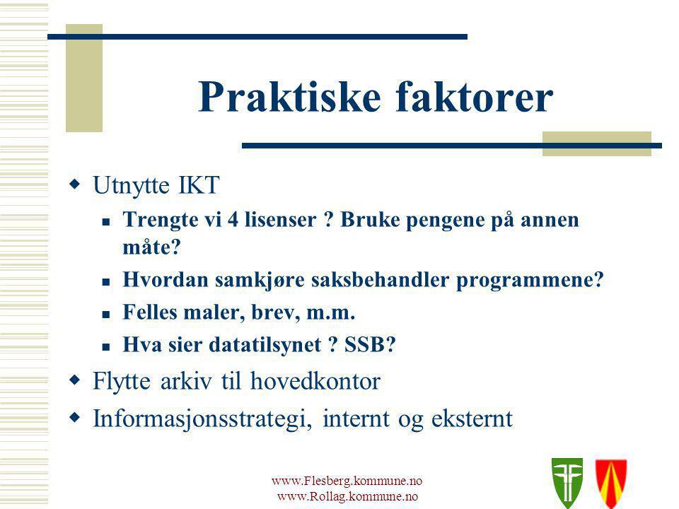 www.Flesberg.kommune.no www.Rollag.kommune.no Praktiske faktorer  Utnytte IKT Trengte vi 4 lisenser .