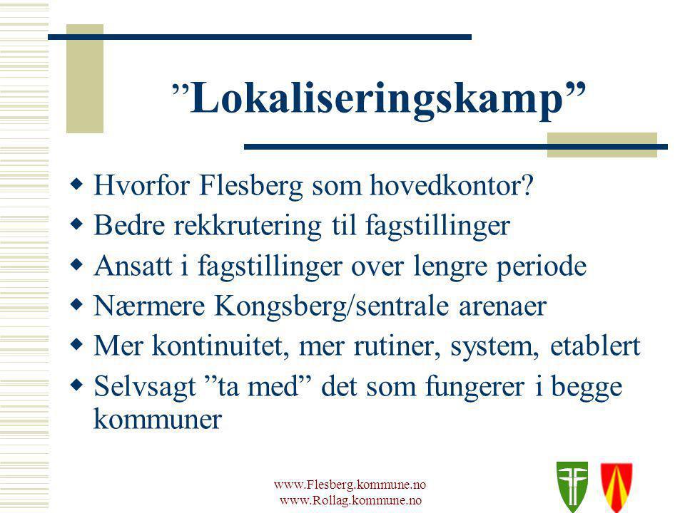 www.Flesberg.kommune.no www.Rollag.kommune.no Lokaliseringskamp  Hvorfor Flesberg som hovedkontor.