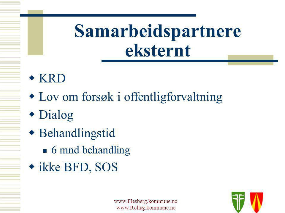 www.Flesberg.kommune.no www.Rollag.kommune.no Samarbeidspartnere eksternt  KRD  Lov om forsøk i offentligforvaltning  Dialog  Behandlingstid 6 mnd behandling  ikke BFD, SOS