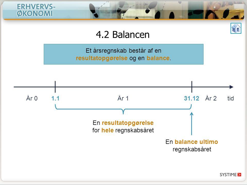 4.2 Balancen tidÅr 0År 1År 2 Et årsregnskab består af en resultatopgørelse og en balance.