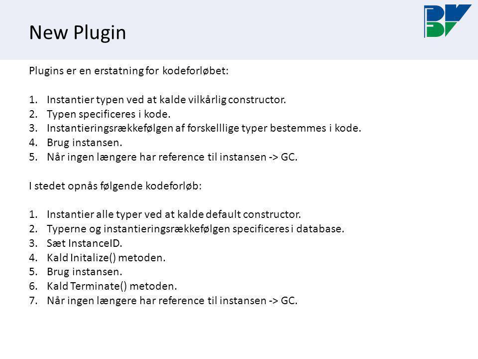 New Plugin Plugins er en erstatning for kodeforløbet: 1.Instantier typen ved at kalde vilkårlig constructor.