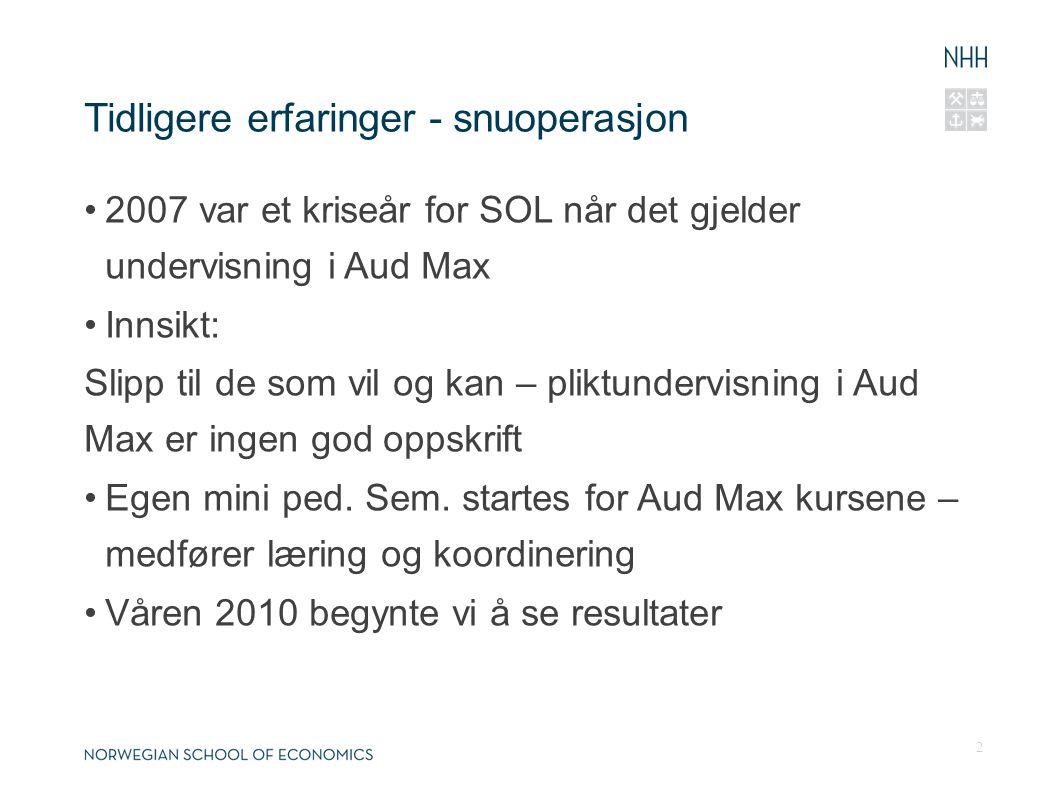 Tidligere erfaringer - snuoperasjon 2007 var et kriseår for SOL når det gjelder undervisning i Aud Max Innsikt: Slipp til de som vil og kan – pliktundervisning i Aud Max er ingen god oppskrift Egen mini ped.