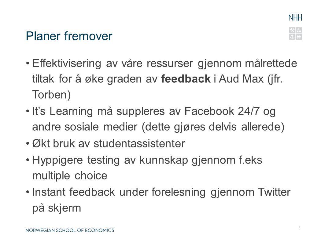 Planer fremover Effektivisering av våre ressurser gjennom målrettede tiltak for å øke graden av feedback i Aud Max (jfr. Torben) It's Learning må supp