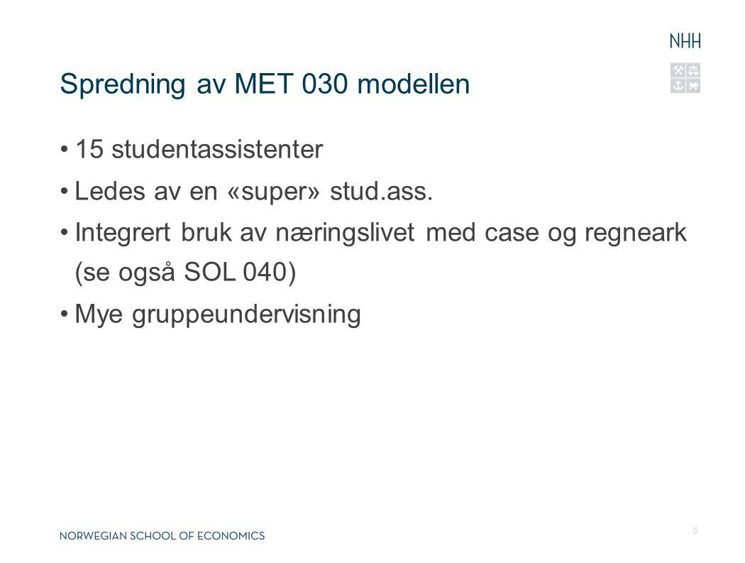 Spredning av MET 030 modellen 15 studentassistenter Ledes av en «super» stud.ass. Integrert bruk av næringslivet med case og regneark (se også SOL 040