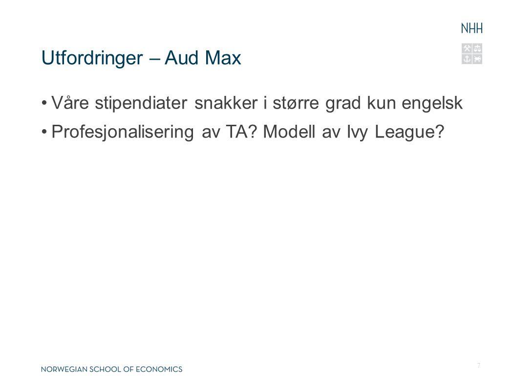 Utfordringer – Aud Max Våre stipendiater snakker i større grad kun engelsk Profesjonalisering av TA? Modell av Ivy League? 7