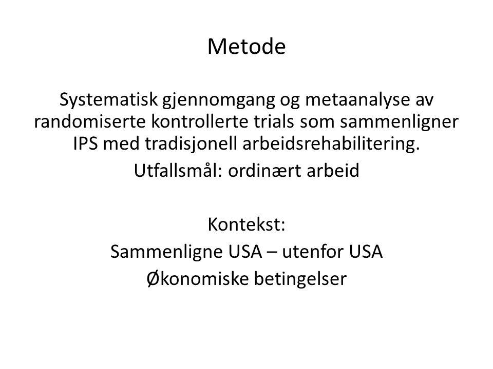 Metode Systematisk gjennomgang og metaanalyse av randomiserte kontrollerte trials som sammenligner IPS med tradisjonell arbeidsrehabilitering. Utfalls