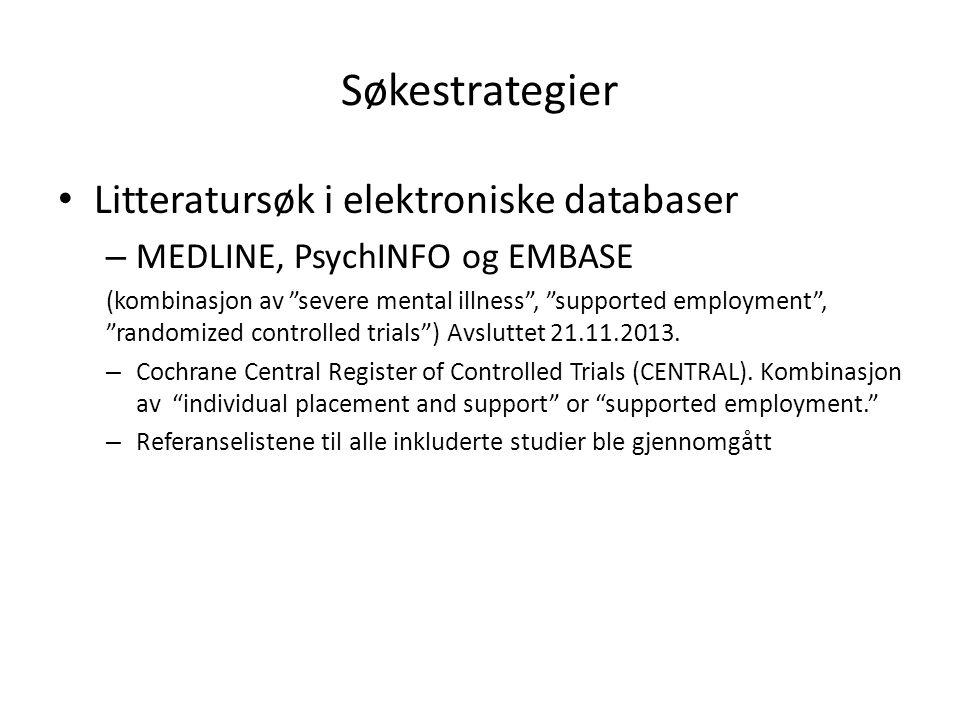 """Søkestrategier Litteratursøk i elektroniske databaser – MEDLINE, PsychINFO og EMBASE (kombinasjon av """"severe mental illness"""", """"supported employment"""","""