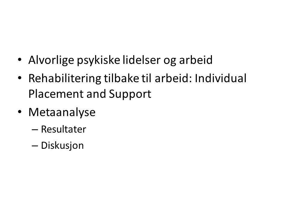 Alvorlige psykiske lidelser og arbeid Rehabilitering tilbake til arbeid: Individual Placement and Support Metaanalyse – Resultater – Diskusjon