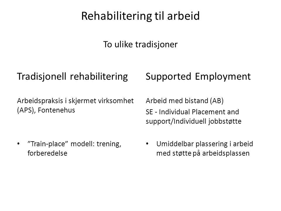 """Rehabilitering til arbeid To ulike tradisjoner Tradisjonell rehabilitering Arbeidspraksis i skjermet virksomhet (APS), Fontenehus """"Train-place"""" modell"""