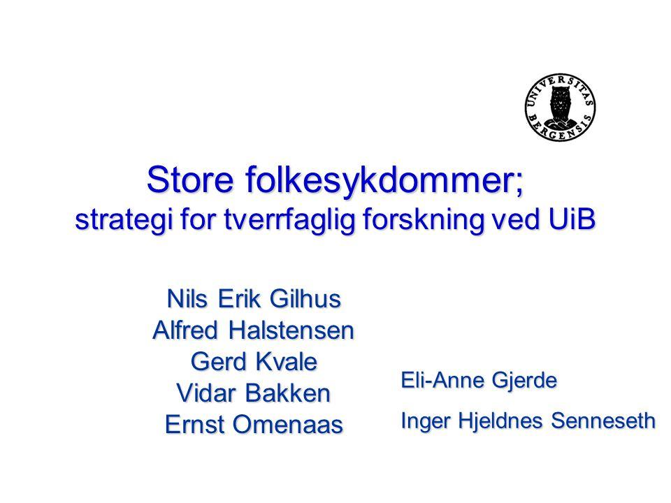 Store folkesykdommer; strategi for tverrfaglig forskning ved UiB Nils Erik Gilhus Alfred Halstensen Gerd Kvale Vidar Bakken Ernst Omenaas Eli-Anne Gje