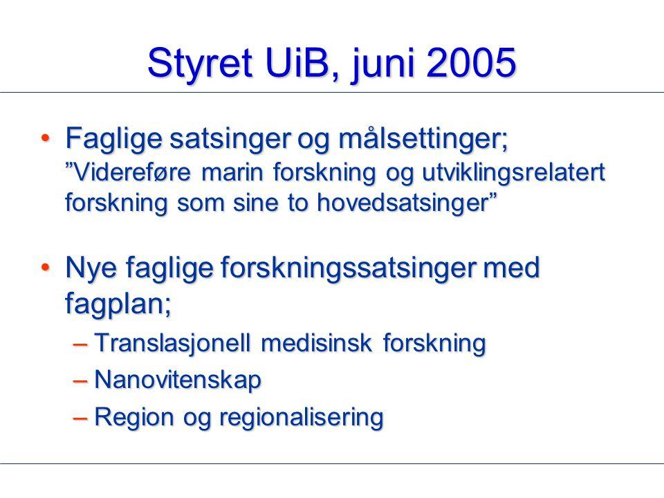 """Styret UiB, juni 2005 Faglige satsinger og målsettinger; """"Videreføre marin forskning og utviklingsrelatert forskning som sine to hovedsatsinger""""Faglig"""