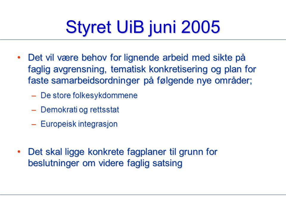 Styret UiB juni 2005 Det vil være behov for lignende arbeid med sikte på faglig avgrensning, tematisk konkretisering og plan for faste samarbeidsordni