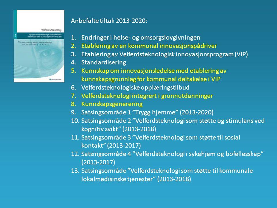 Anbefalte tiltak 2013-2020: 1.Endringer i helse- og omsorgslovgivningen 2.Etablering av en kommunal innovasjonspådriver 3.Etablering av Velferdsteknologisk innovasjonsprogram (VIP) 4.Standardisering 5.Kunnskap om innovasjonsledelse med etablering av kunnskapsgrunnlag for kommunal deltakelse i VIP 6.Velferdsteknologiske opplæringstilbud 7.Velferdsteknologi integrert i grunnutdanninger 8.Kunnskapsgenerering 9.Satsingsområde 1 Trygg hjemme (2013-2020) 10.Satsingsområde 2 Velferdsteknologi som støtte og stimulans ved kognitiv svikt (2013-2018) 11.Satsingsområde 3 Velferdsteknologi som støtte til sosial kontakt (2013-2017) 12.Satsingsområde 4 Velferdsteknologi i sykehjem og bofellesskap (2013-2017) 13.Satsingsområde Velferdsteknologi som støtte til kommunale lokalmedisinske tjenester (2013-2018)