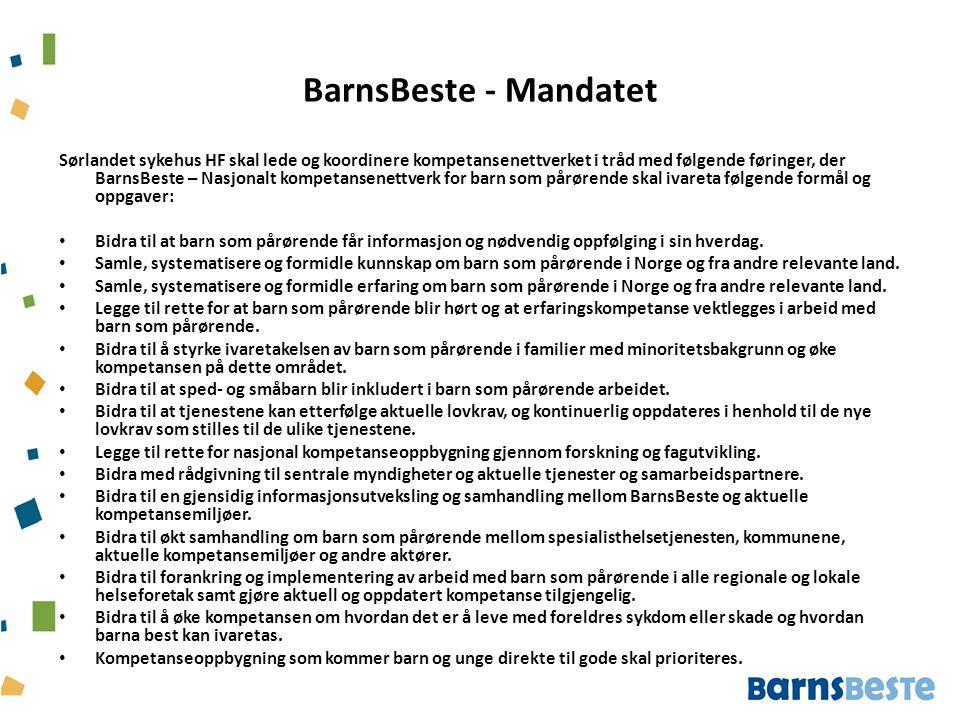 BarnsBeste - Mandatet Sørlandet sykehus HF skal lede og koordinere kompetansenettverket i tråd med følgende føringer, der BarnsBeste – Nasjonalt kompe