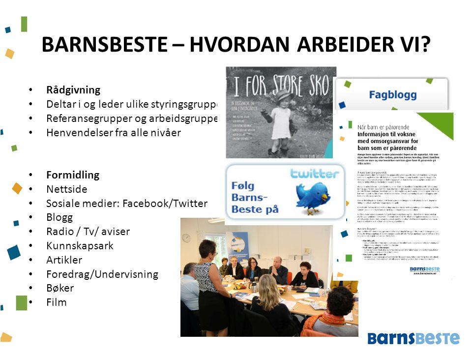 BARNSBESTE – HVORDAN ARBEIDER VI? Rådgivning Deltar i og leder ulike styringsgrupper, Referansegrupper og arbeidsgrupper Henvendelser fra alle nivåer