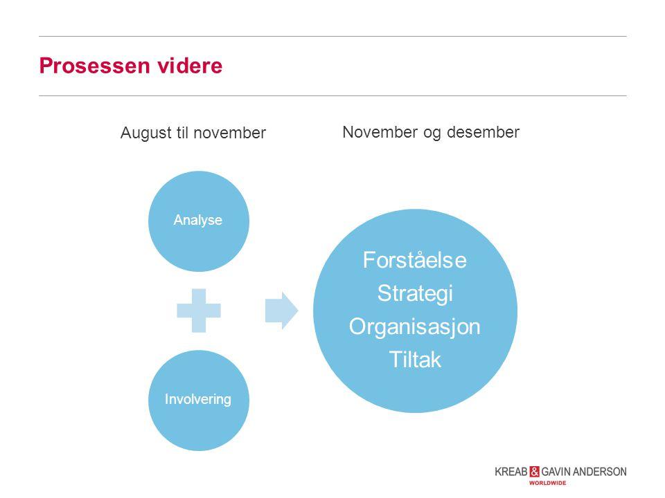 Prosessen videre AnalyseInvolvering Forståelse Strategi Organisasjon Tiltak August til november November og desember