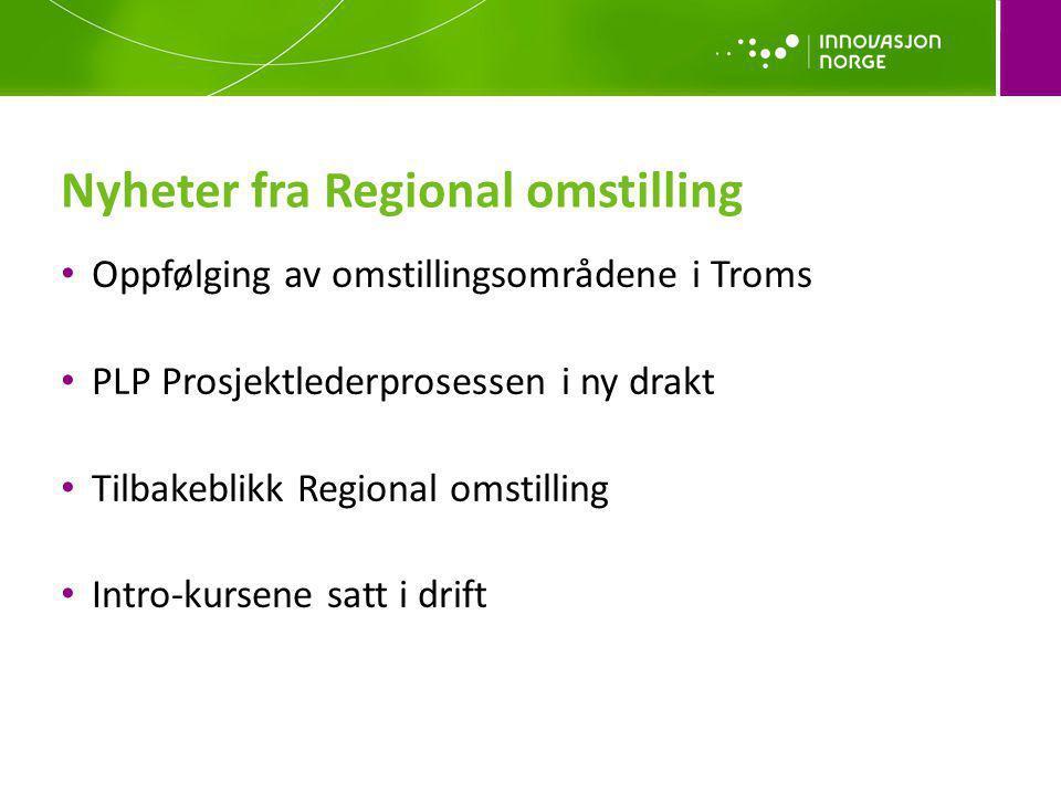 Oppfølging av omstillingsområdene i Troms PLP Prosjektlederprosessen i ny drakt Tilbakeblikk Regional omstilling Intro-kursene satt i drift Nyheter fr