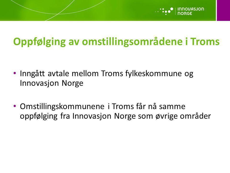 Inngått avtale mellom Troms fylkeskommune og Innovasjon Norge Omstillingskommunene i Troms får nå samme oppfølging fra Innovasjon Norge som øvrige omr