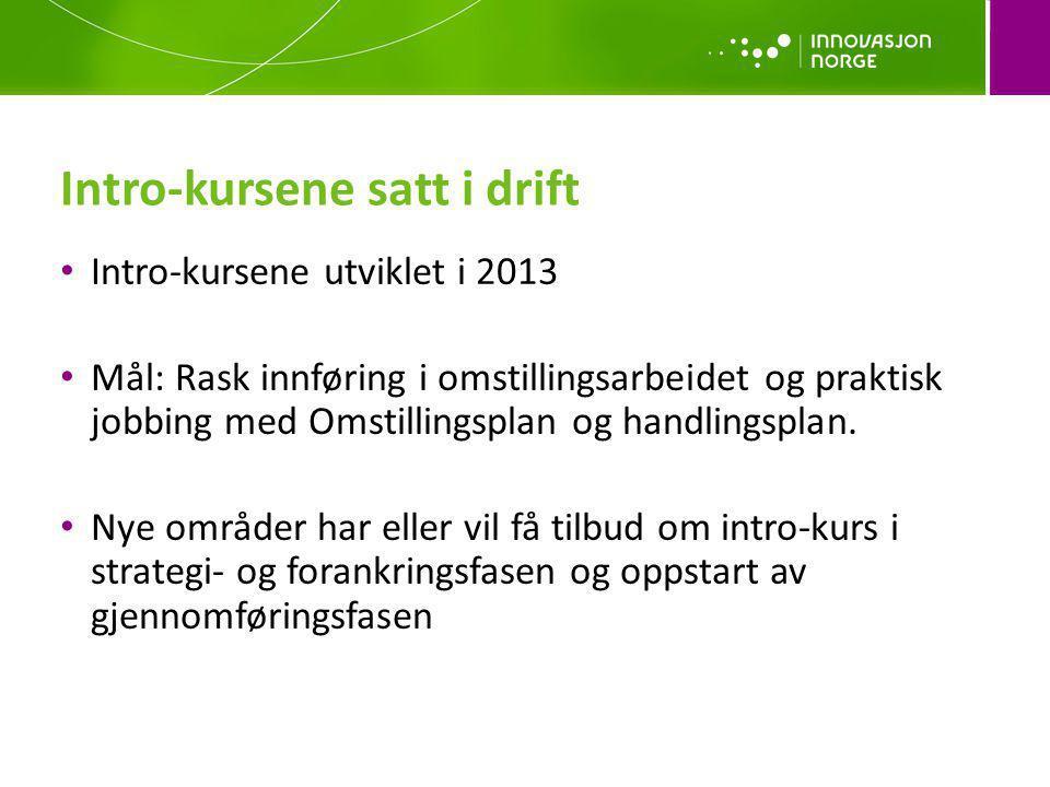Intro-kursene utviklet i 2013 Mål: Rask innføring i omstillingsarbeidet og praktisk jobbing med Omstillingsplan og handlingsplan. Nye områder har elle