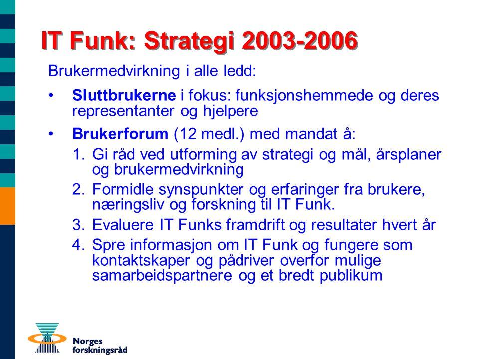 IT Funk: Strategi 2003-2006 Brukermedvirkning i alle ledd: Sluttbrukerne i fokus: funksjonshemmede og deres representanter og hjelpere Brukerforum (12