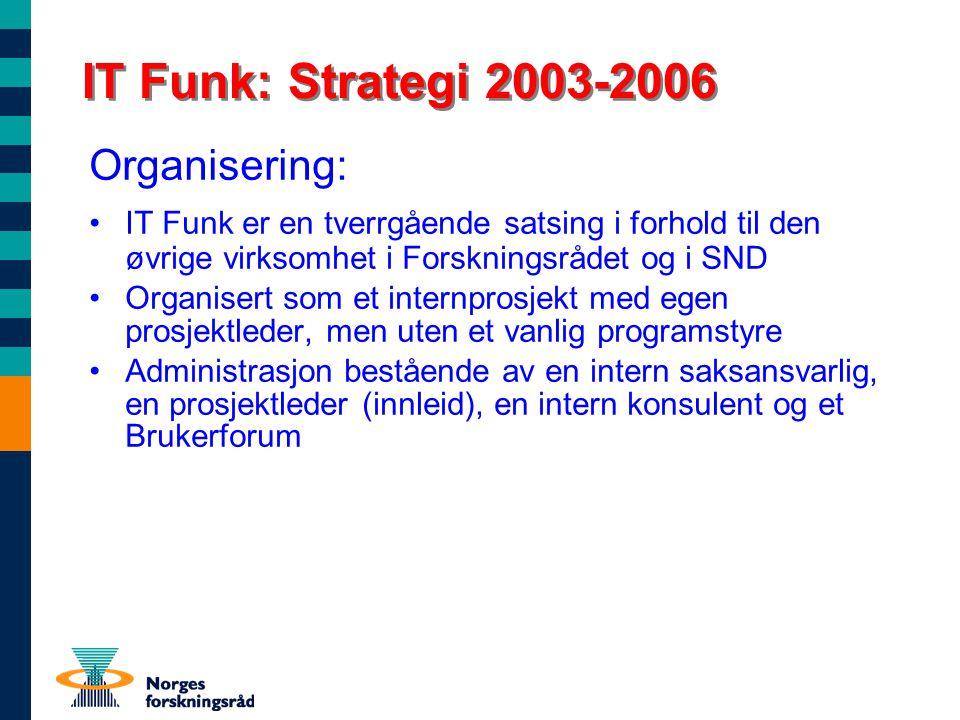 IT Funk: Strategi 2003-2006 Organisering: IT Funk er en tverrgående satsing i forhold til den øvrige virksomhet i Forskningsrådet og i SND Organisert som et internprosjekt med egen prosjektleder, men uten et vanlig programstyre Administrasjon bestående av en intern saksansvarlig, en prosjektleder (innleid), en intern konsulent og et Brukerforum