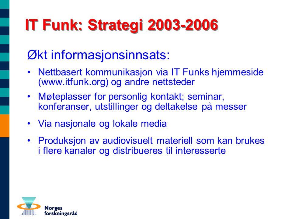 IT Funk: Strategi 2003-2006 Økt informasjonsinnsats: Nettbasert kommunikasjon via IT Funks hjemmeside (www.itfunk.org) og andre nettsteder Møteplasser
