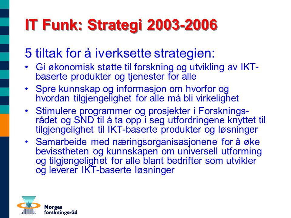 IT Funk: Strategi 2003-2006 5 tiltak for å iverksette strategien: Gi økonomisk støtte til forskning og utvikling av IKT- baserte produkter og tjenester for alle Spre kunnskap og informasjon om hvorfor og hvordan tilgjengelighet for alle må bli virkelighet Stimulere programmer og prosjekter i Forsknings- rådet og SND til å ta opp i seg utfordringene knyttet til tilgjengelighet til IKT-baserte produkter og løsninger Samarbeide med næringsorganisasjonene for å øke bevisstheten og kunnskapen om universell utforming og tilgjengelighet for alle blant bedrifter som utvikler og leverer IKT-baserte løsninger