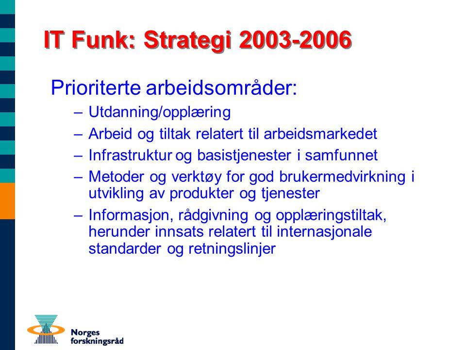 IT Funk: Strategi 2003-2006 Prioriterte arbeidsområder: –Utdanning/opplæring –Arbeid og tiltak relatert til arbeidsmarkedet –Infrastruktur og basistje