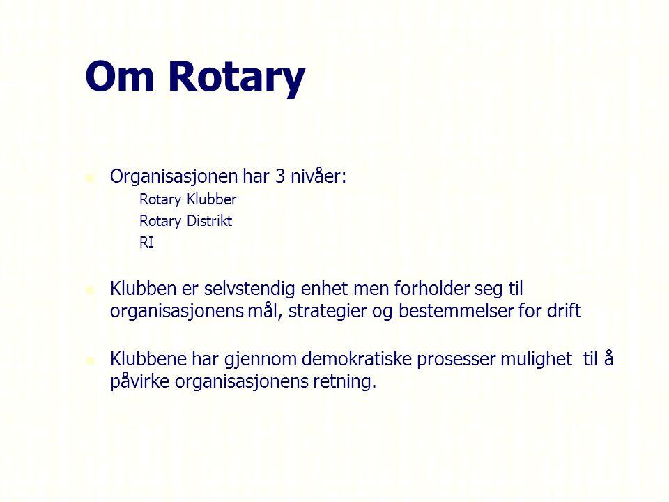 Organisasjonen har 3 nivåer: – –Rotary Klubber – –Rotary Distrikt – –RI Klubben er selvstendig enhet men forholder seg til organisasjonens mål, strategier og bestemmelser for drift Klubbene har gjennom demokratiske prosesser mulighet til å påvirke organisasjonens retning.