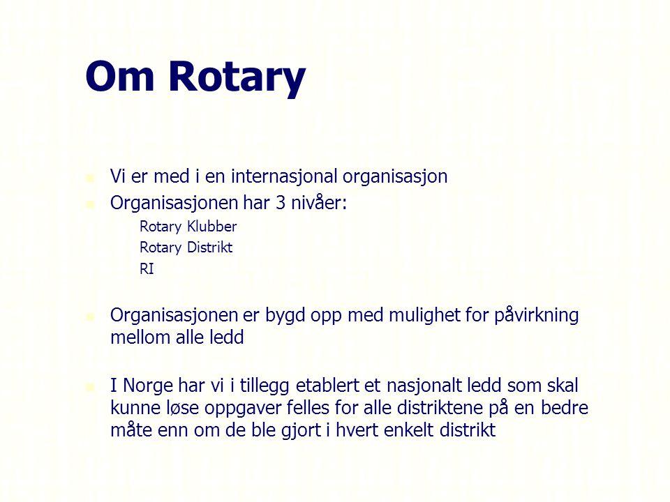 Om Rotary Vi er med i en internasjonal organisasjon Organisasjonen har 3 nivåer: – –Rotary Klubber – –Rotary Distrikt – –RI Organisasjonen er bygd opp med mulighet for påvirkning mellom alle ledd I Norge har vi i tillegg etablert et nasjonalt ledd som skal kunne løse oppgaver felles for alle distriktene på en bedre måte enn om de ble gjort i hvert enkelt distrikt