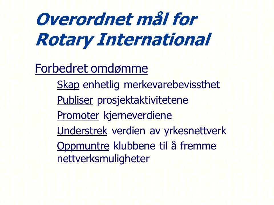 Overordnet mål for Rotary International Forbedret omdømme – –Skap enhetlig merkevarebevissthet – –Publiser prosjektaktivitetene – –Promoter kjerneverdiene – –Understrek verdien av yrkesnettverk – –Oppmuntre klubbene til å fremme nettverksmuligheter