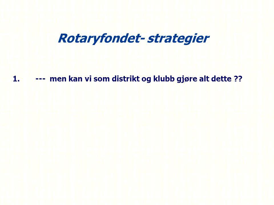 Rotaryfondet- strategier 1.--- men kan vi som distrikt og klubb gjøre alt dette