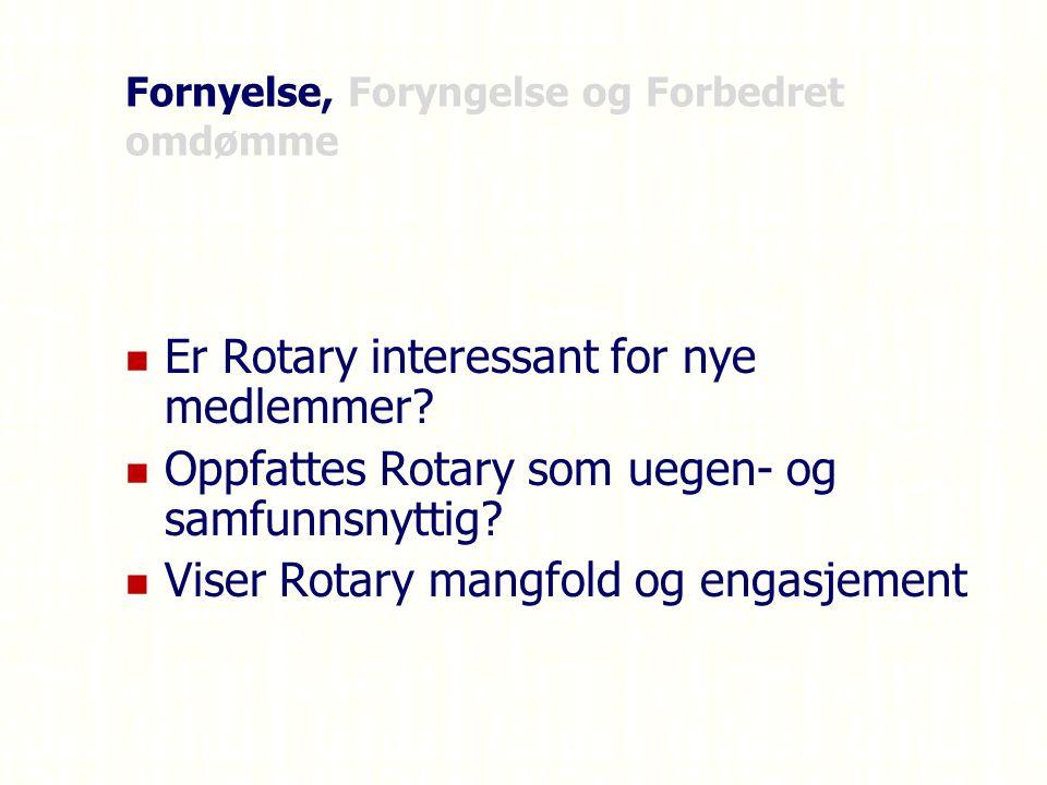 Fornyelse, Foryngelse og Forbedret omdømme Er Rotary interessant for nye medlemmer.