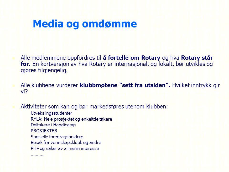 Media og omdømme Alle medlemmene oppfordres til å fortelle om Rotary og hva Rotary står for.
