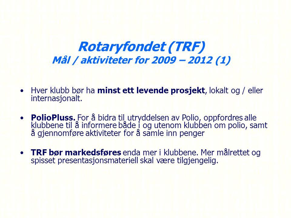 Rotaryfondet (TRF) Mål / aktiviteter for 2009 – 2012 (1) Hver klubb bør ha minst ett levende prosjekt, lokalt og / eller internasjonalt.