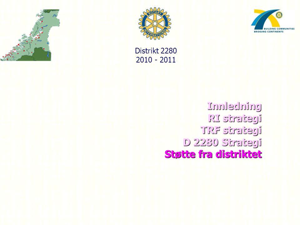 Innledning RI strategi TRF strategi D 2280 Strategi Støtte fra distriktet Distrikt 2280 2010 - 2011