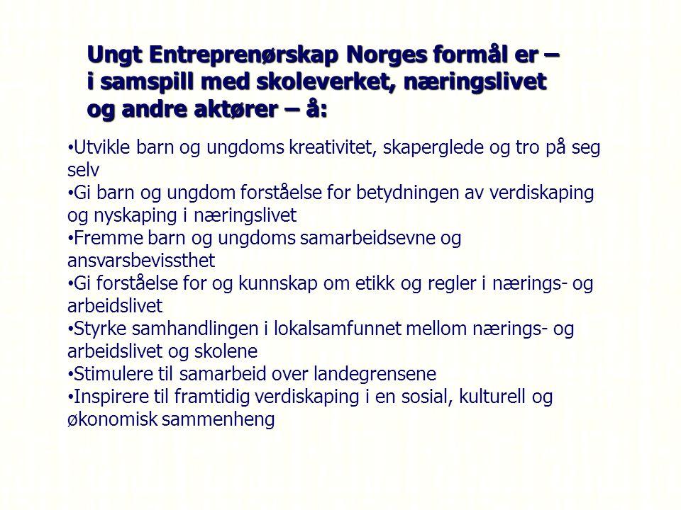 Ungt Entreprenørskap Norges formål er – i samspill med skoleverket, næringslivet og andre aktører – å: Utvikle barn og ungdoms kreativitet, skaperglede og tro på seg selv Gi barn og ungdom forståelse for betydningen av verdiskaping og nyskaping i næringslivet Fremme barn og ungdoms samarbeidsevne og ansvarsbevissthet Gi forståelse for og kunnskap om etikk og regler i nærings- og arbeidslivet Styrke samhandlingen i lokalsamfunnet mellom nærings- og arbeidslivet og skolene Stimulere til samarbeid over landegrensene Inspirere til framtidig verdiskaping i en sosial, kulturell og økonomisk sammenheng